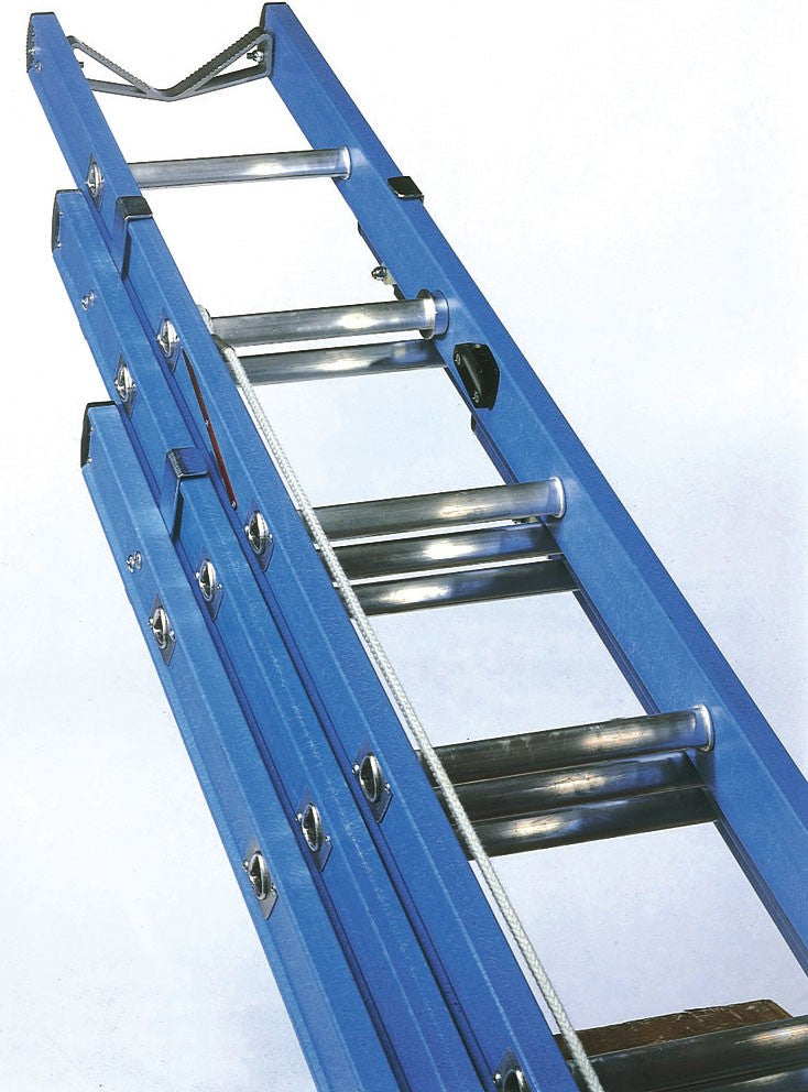 Lyte Class 1 Glassfibre Telecoms 3 Section Ladder - Size 2.5m-6.0m