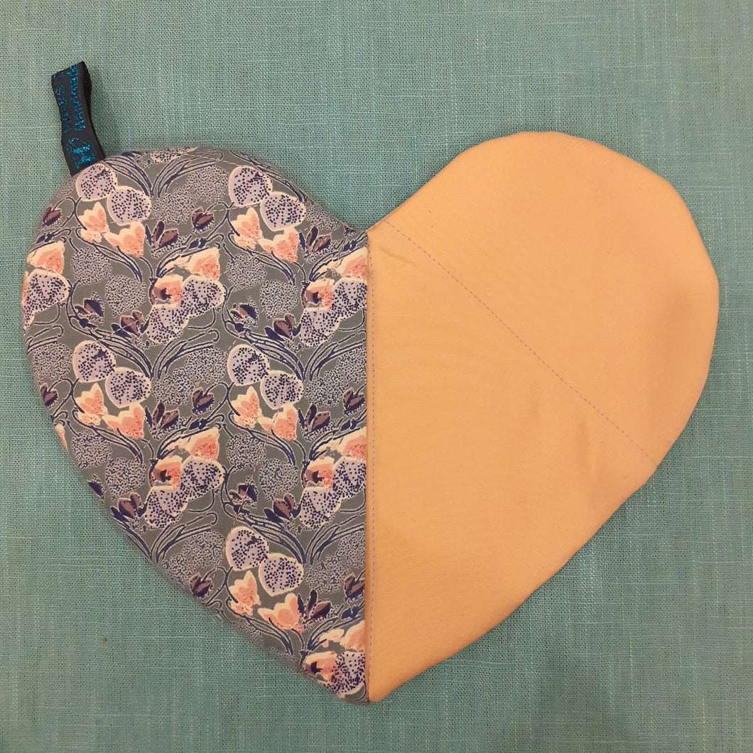 Purple Flowers and Pink Heart Pot Holder