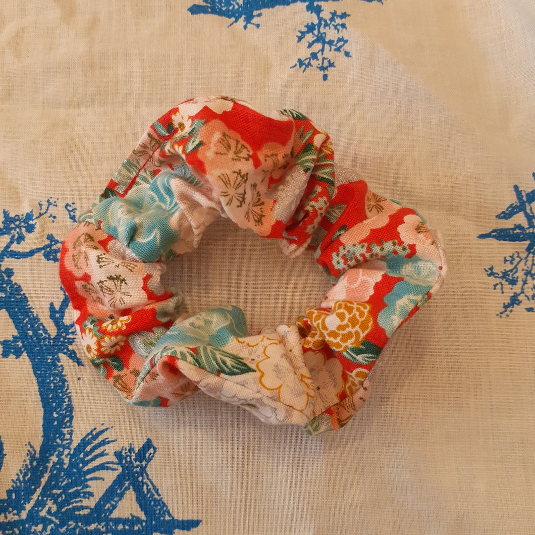 Red Metallic Cotton Scrunchie