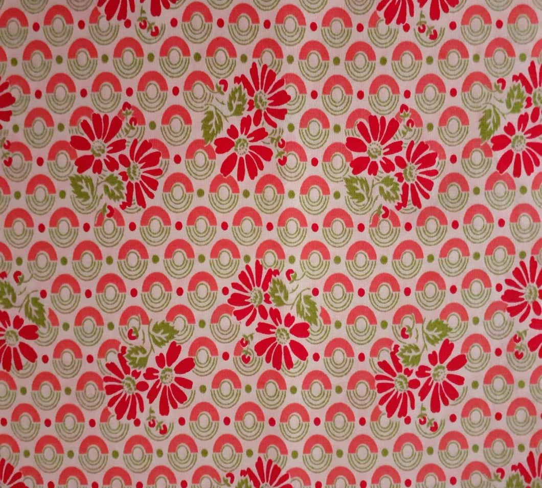 Retro Red and Green Floral Print