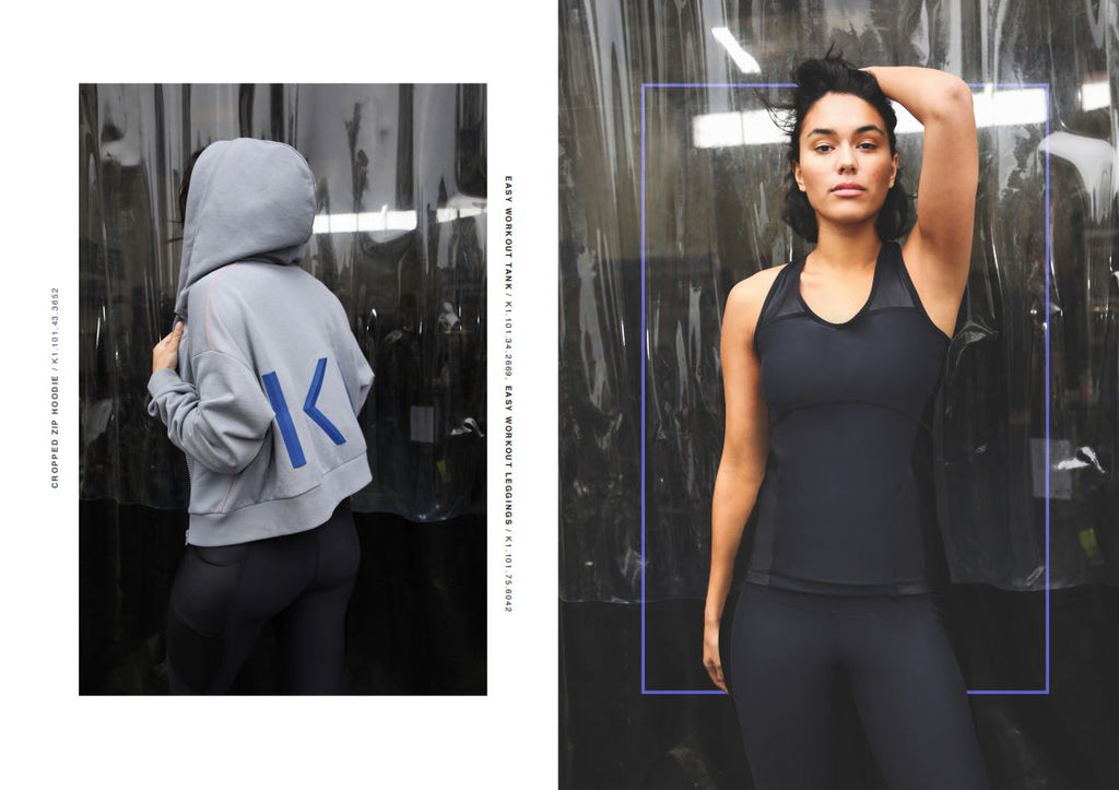 cropped zip hoodie black leggings models