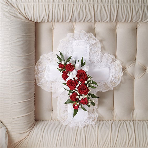 Red and White Satin Cross Pillow