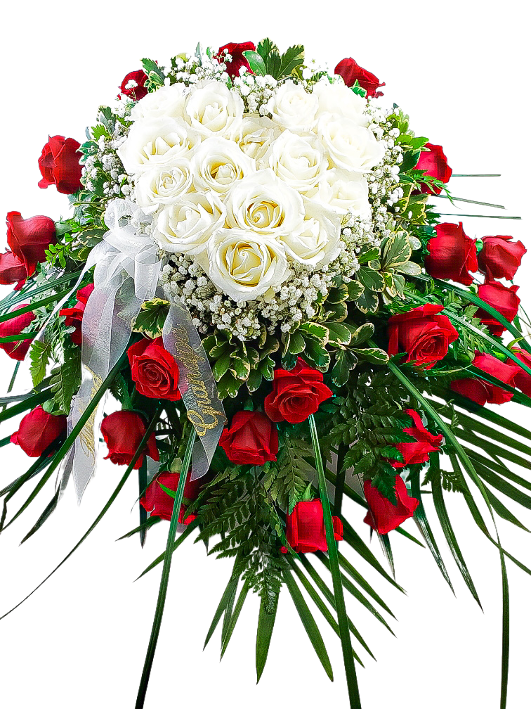 White Rose Heart with Red Roses Casket Spray