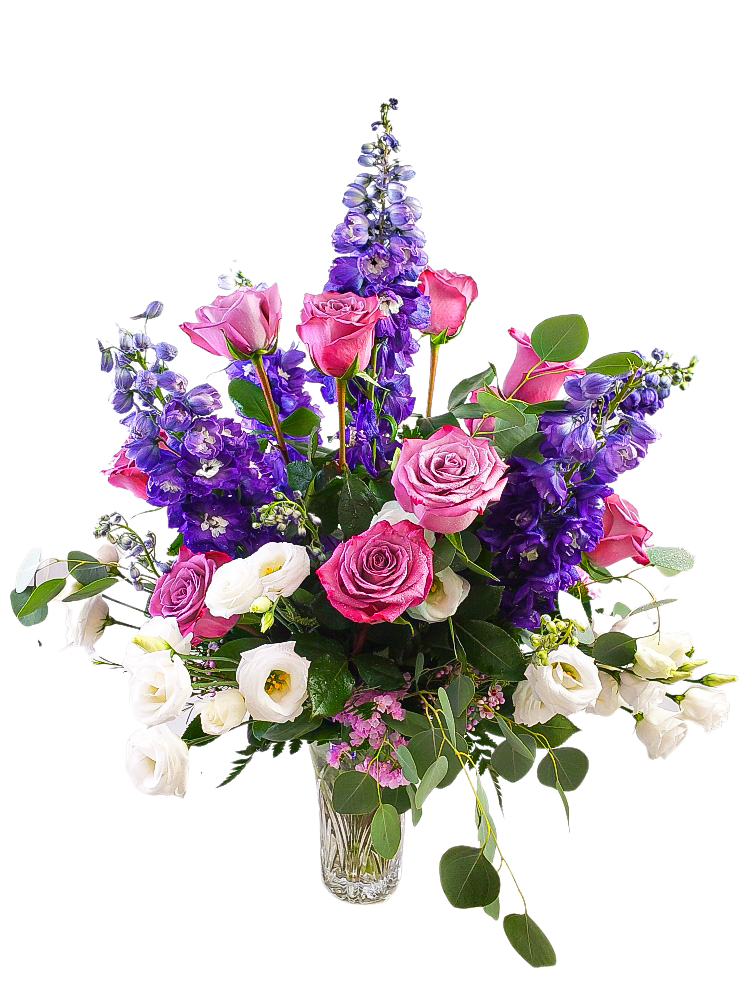 Purple White and Lavender Vase Arrangement