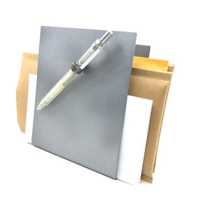 BRUSHED METAL TABLE-TOP-MAGNETIC FILE HOLDER