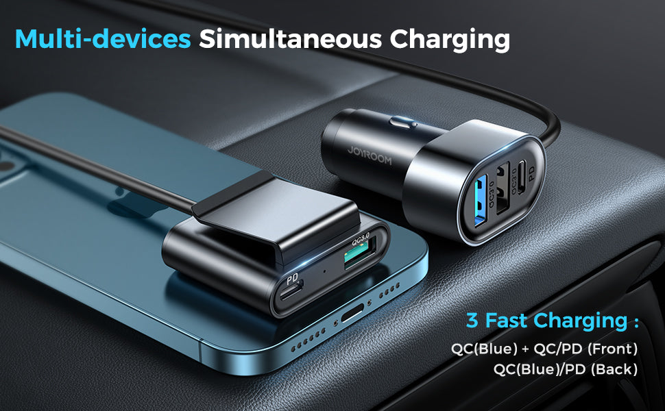 5 Multi-port(2 PD + 3 QC3.0) Fast Car Charger Adapter 72W for Front/Back Seat Charging