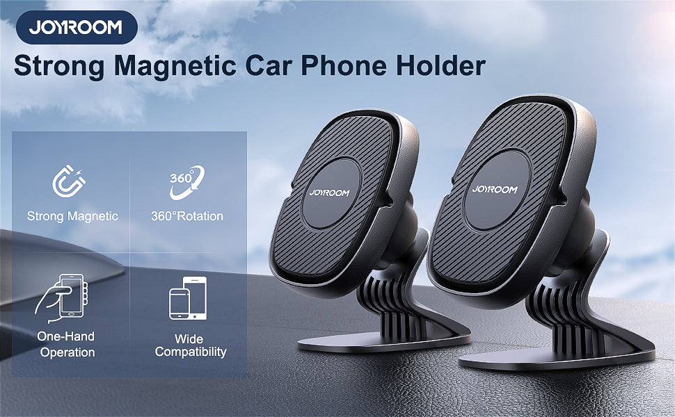 2-Pack [N52 Magnets] JOYROOM Universal Magnetic Phone Holder for Car, Magnetic Phone Mount for Dashboard, Adjustable Cell Phone Magnet Compatible with iPhone/Samsung/One Plus/Google Pixel/LG
