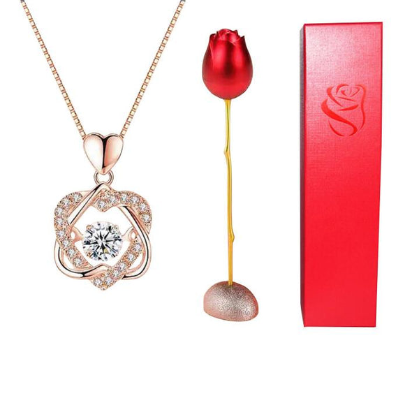 🌹VALENTINE'S DAY ROSE WITH HEART NECKLACE SET