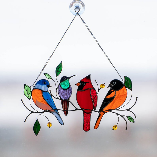 Birds Stained Glass Window Hangings - Mothers Day Gift