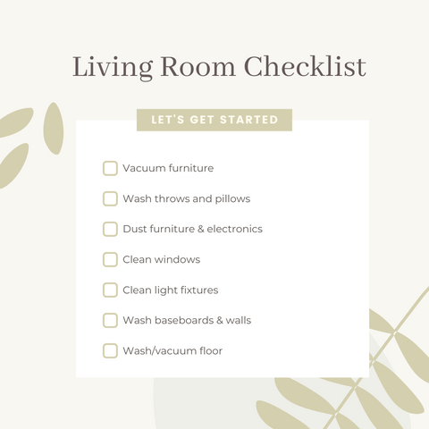 living room spring cleaning checklist