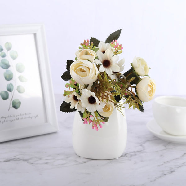 Silk Daisy & Rose Bouquet-Artificial Flowers-Eden + Ash