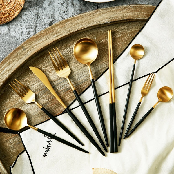 Black & Gold Matte Flatware - EDEN + ASH
