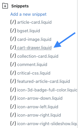 snippets folder open with arrow pointing to cart-drawer.liquid file name