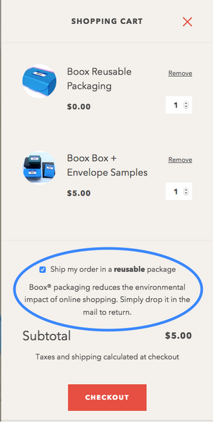 drawer cart with opt-in checkbox circled