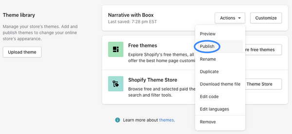 theme library section with action dropdown opened and Publish circled