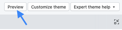 theme editor buttons with arrow pointing to preview button