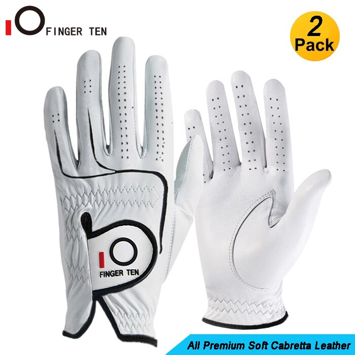 2 Pack Complete Cabretta Leather Golf Gloves -R/L Handed