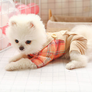 2020 Pet Dog Four Feet Clothes for Small and Medium-sized Dogs Plaid Double Buckle College Style Dog Overall Pet Clothes