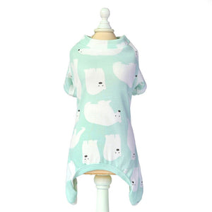 Summer Cotton Pet Pajamas for Small Dogs Cats Fox Bear Print Dog Jumpsuit Puppy Cat Clothes Yorkshire Clothing Mascoats Costume