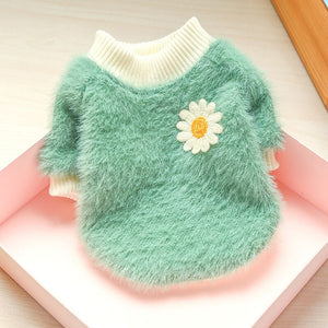 Sweet Daisy Pet Dog Sweater for Small Dogs Winter Warm Puppy Cat Clothing Chihuahua Shih Tzu Sweatshirt Coat Mascotas Clothes