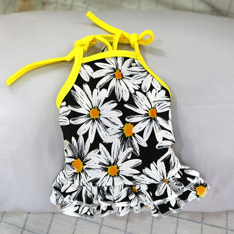 Summer Floral Puppy Cat Tshirt Skirt Sweet Pet Dress for Small Dogs Yorkie Maltese Dresses Shirts Dog Couple Clothes perros ropa