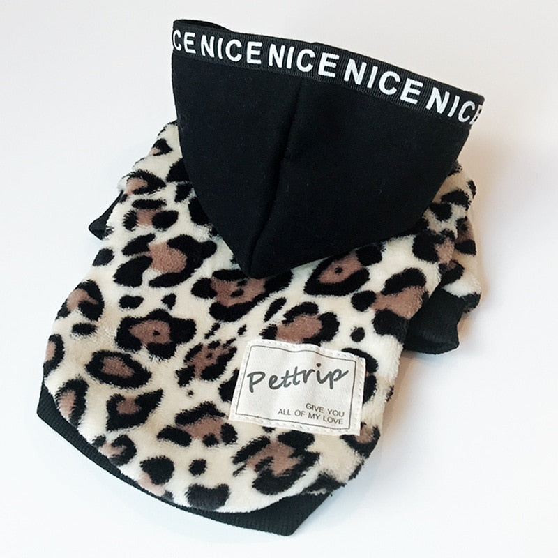 Leopard Printing Dog Coats With Caps