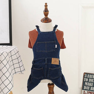 [MPK Dog Denim Overalls] Dog Denim Dungarees, Dog Jeans Suitable for French Bulldogs, Pugs Dog Jeans