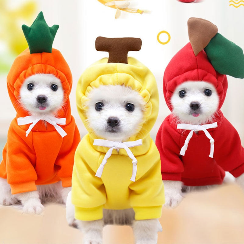 Sweet Dog Hooded Sweater Lovely Fruit Shaped Christmas Dog Costum for Chihuahua Yorkies Soft Pet Clothes