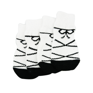 White Ribbon Dog Socks