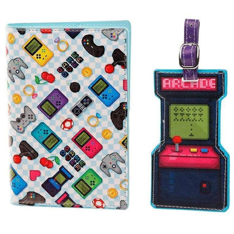 Infogeek BRANDS|GAME OVER Game Over passport holder and luggage tag set