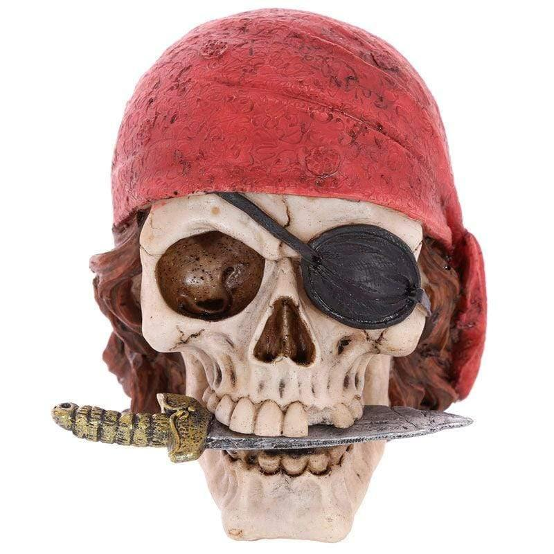 Infogeek BRANDS|GOTHIC / FANTASTIC Pirate Skull Decoration with Head Scarf and Knife figure