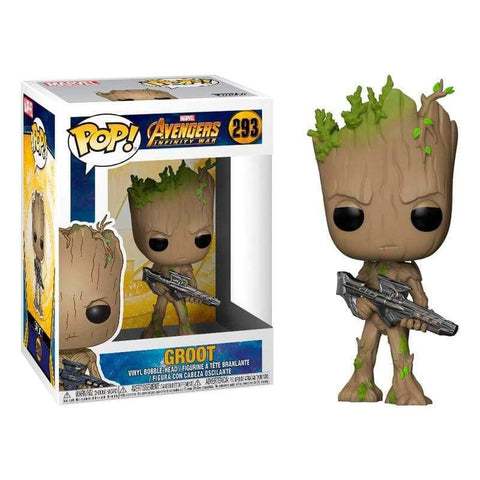 POP figure Marvel Avengers Infinity War Teen Groot with Gun - InfoGeek