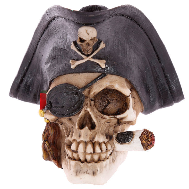 Pirate Skull Decoration with Cigar figure