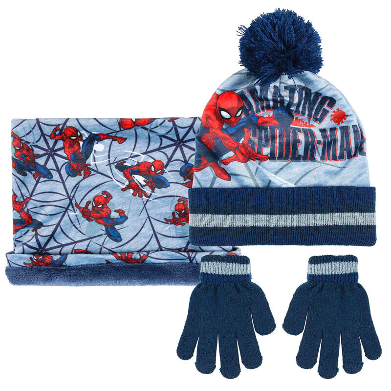 Marvel Spiderman winter set snood hat gloves