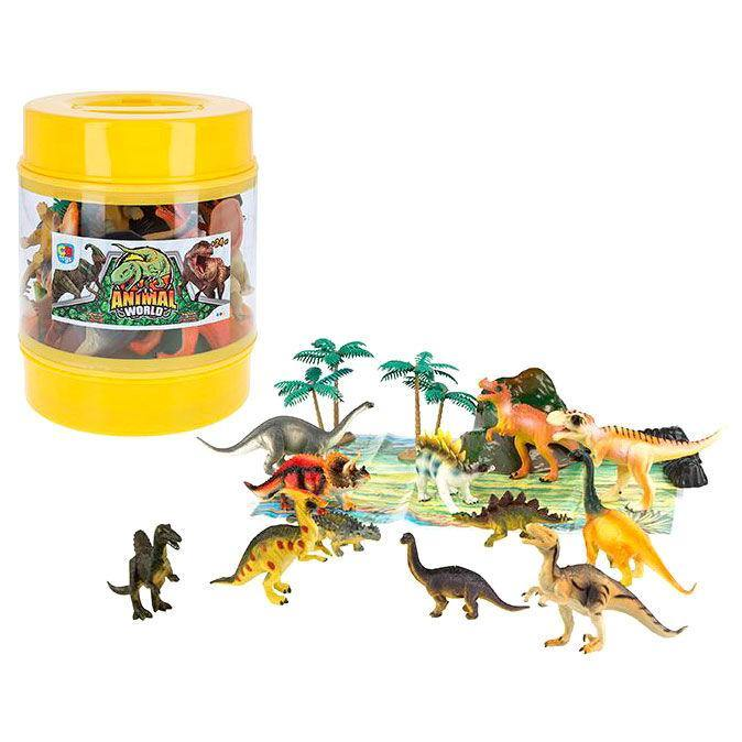Dinosaurs + accessories tin