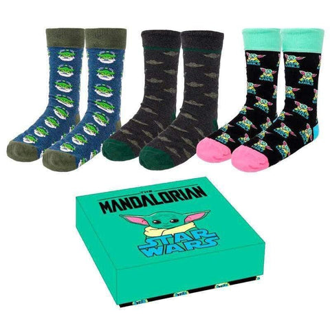 Star Wars The Mandalorian Yoda Child adult box 3 socks - InfoGeek
