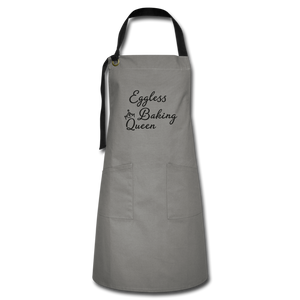 Eggless Baking Queen Artisan Apron - gray/black