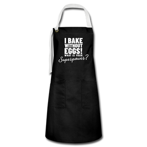 I Bake Without Eggs! Artisan Apron - black/white