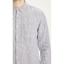 Load image into Gallery viewer, Knowledge Cotton Shirt in regular classic fit. Larch Long Sleeve Striped Linen Shirt  100% organic linen  Chosen in a Total Eclipse colour