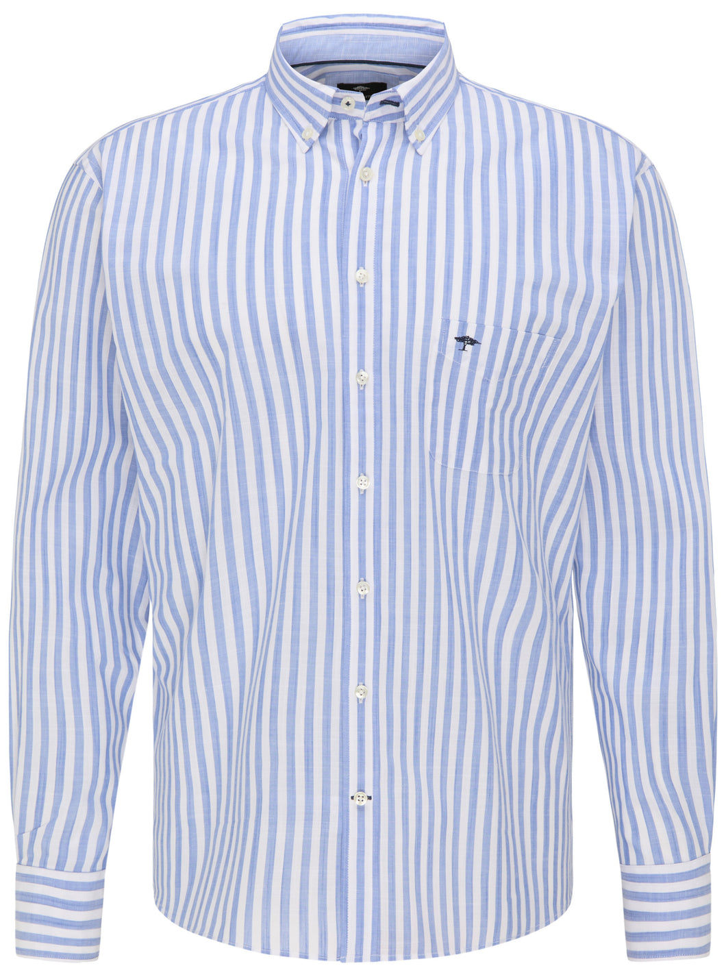 Fynch Hatton Lightweight Summer Story, Button Down Collar, Long Sleeve in regular Classic fit.    Chosen in  Blue Stripe
