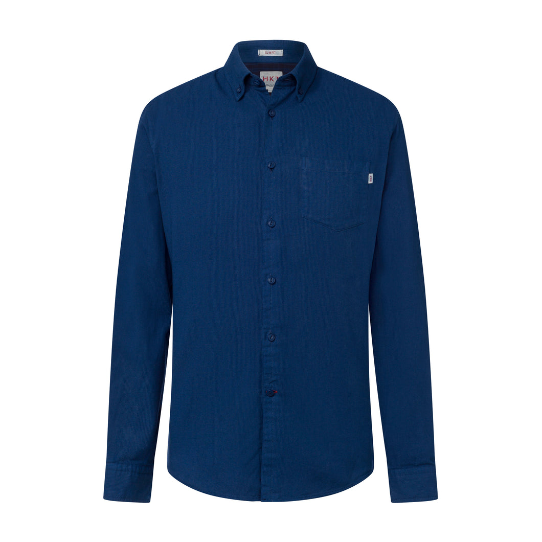 Hackett HKT Shirt in a tapered classic slim fit.   Garmentt Dobby   chosen in a Navy colour