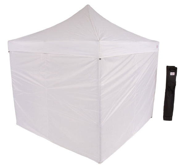 10 x 10 Evento Canopy Pop Up Tent, Steel Frame with sidewalls and Roller bag, White