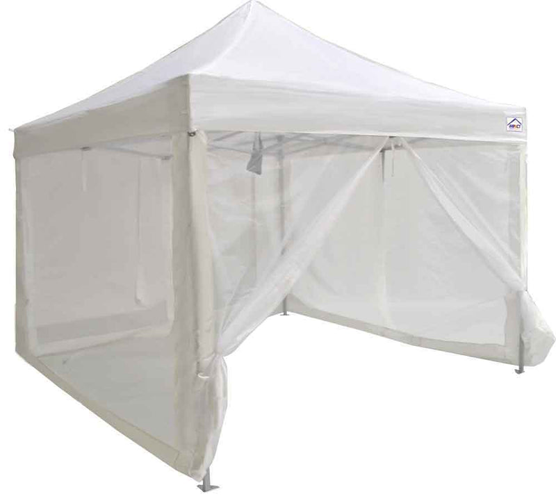 10 x 10 Evento Canopy Pop Up Tent, Steel Frame with Screen sidewalls and Roller bag, White