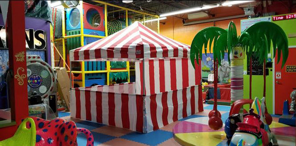 8 x 8 Pop up Canopy Tent Carnival Kit, Red/White Stripe