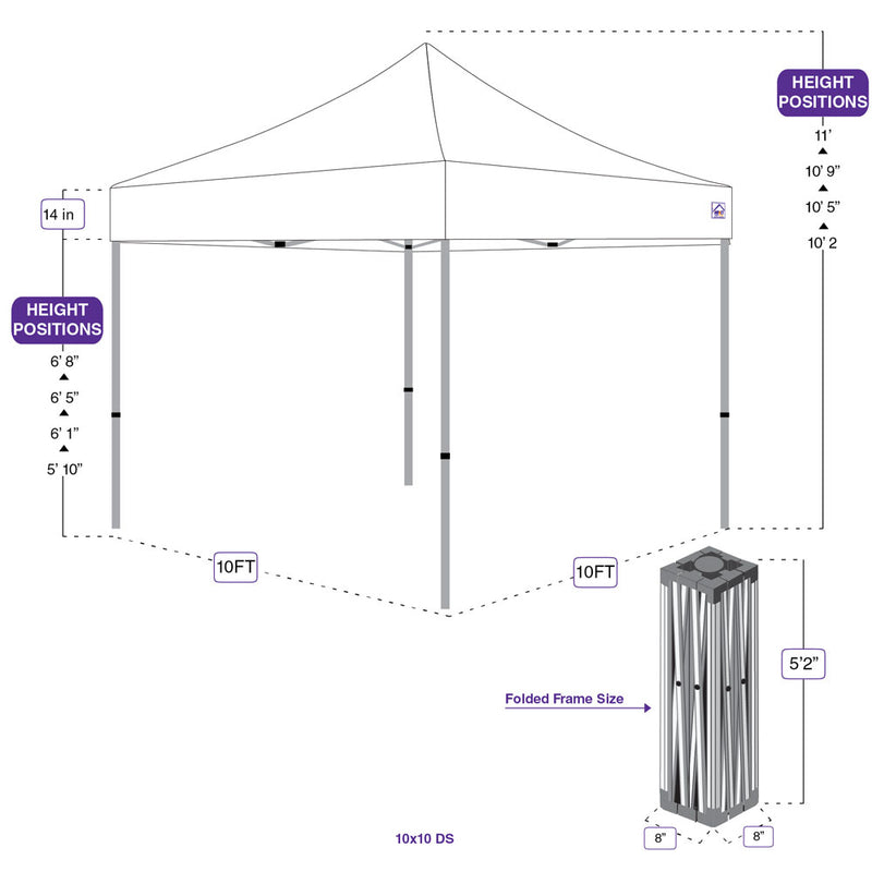 10 x 10 Evento Canopy Pop Up Tent, Steel Frame with weights and Roller bag, White