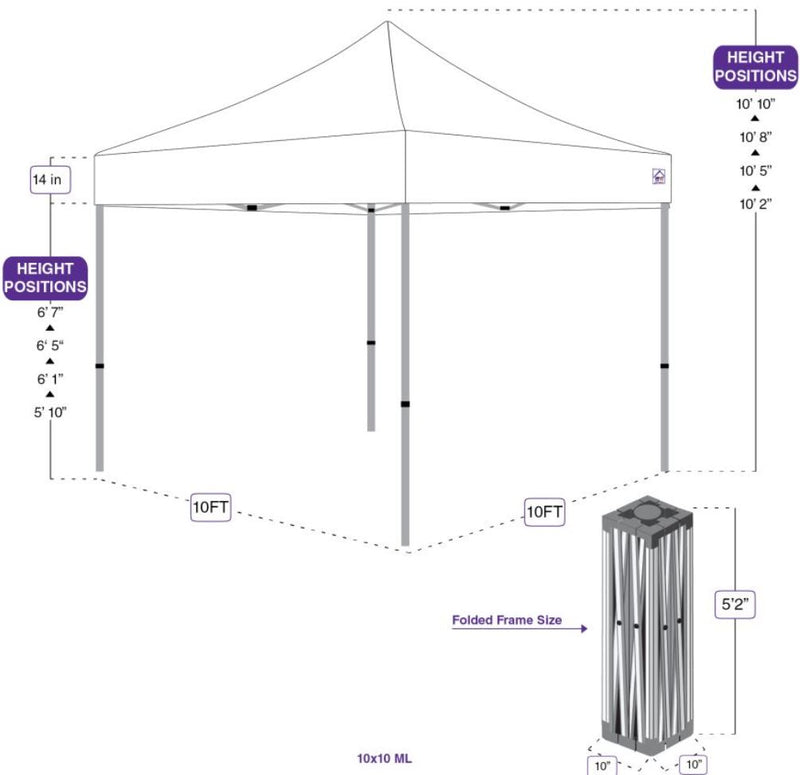 Impact Canopy ML Commercial Grade Canopy Pop Up Tent Aluminum Replacement Frame (Select Size)
