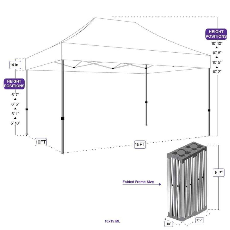 Impact Canopy 10 x 15 ML Pop Up Canopy Aluminum Commercial Grade with Roller Bag
