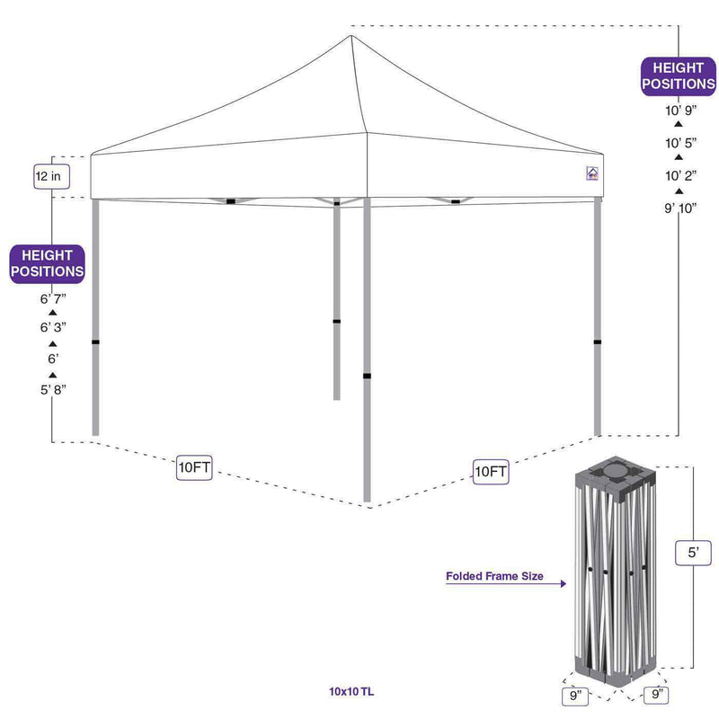 10 x 10 Pop Up Canopy Tent Recreational Grade Steel Frame with Mesh Sidewalls