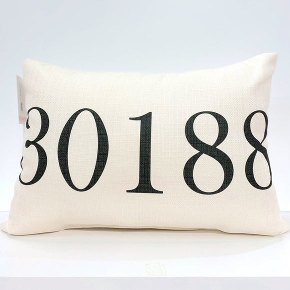 Black 30188 Zip Code Pillow