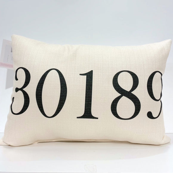 Black 30189 Zip Code Pillow